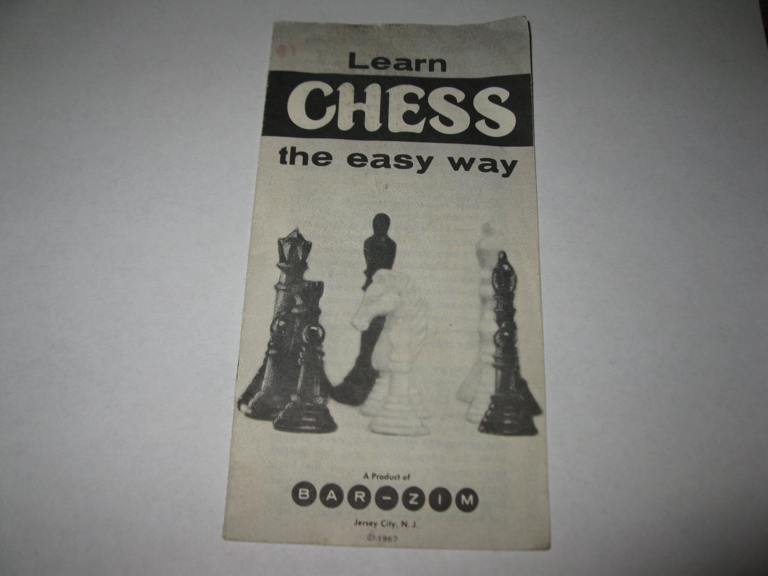 1967 Bar-Zim Classic Chess Board Game Piece: Instruction Booklet