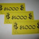 1979 Careers Board Game Piece: stack of money- (3) $1,000 Bills