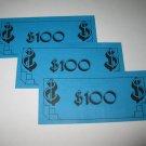 1979 Careers Board Game Piece: stack of money- (3) $100 Bills