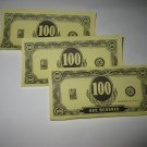 1965 Operation Board Game Piece: Stack of money - (3) $100 bills