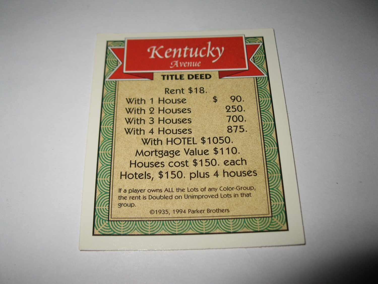 1995 Monopoly 60th Ann. Board Game Piece: Kentucky Avenue Property Deed