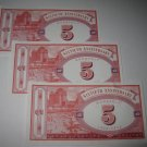 1995 Monopoly 60th Ann. Board Game Piece: stack of money - (3) $5 Bills