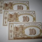 1995 Monopoly 60th Ann. Board Game Piece: stack of money - (3) $10 Bills