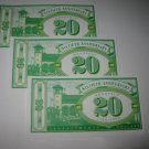 1995 Monopoly 60th Ann. Board Game Piece: stack of money - (3) $20 Bills