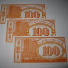 1995 Monopoly 60th Ann. Board Game Piece: stack of money - (3) $100 Bills