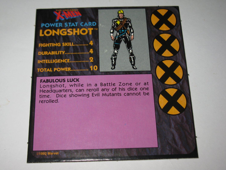 1992 Uncanny X-Men Alert! Board Game Piece: Longshot Player Stat Card