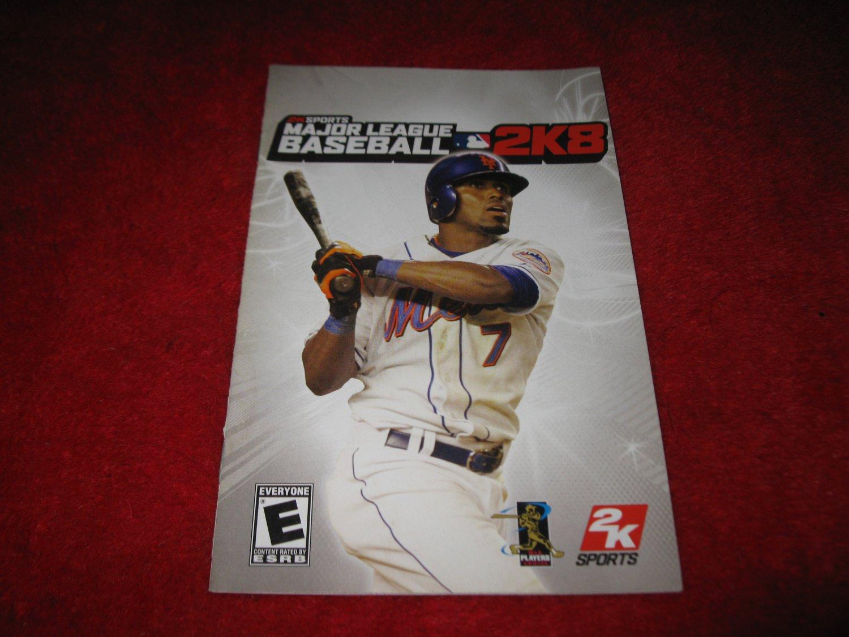 Major League Baseball 2K8 : Playstation 2 PS2 Video Game Instruction Booklet