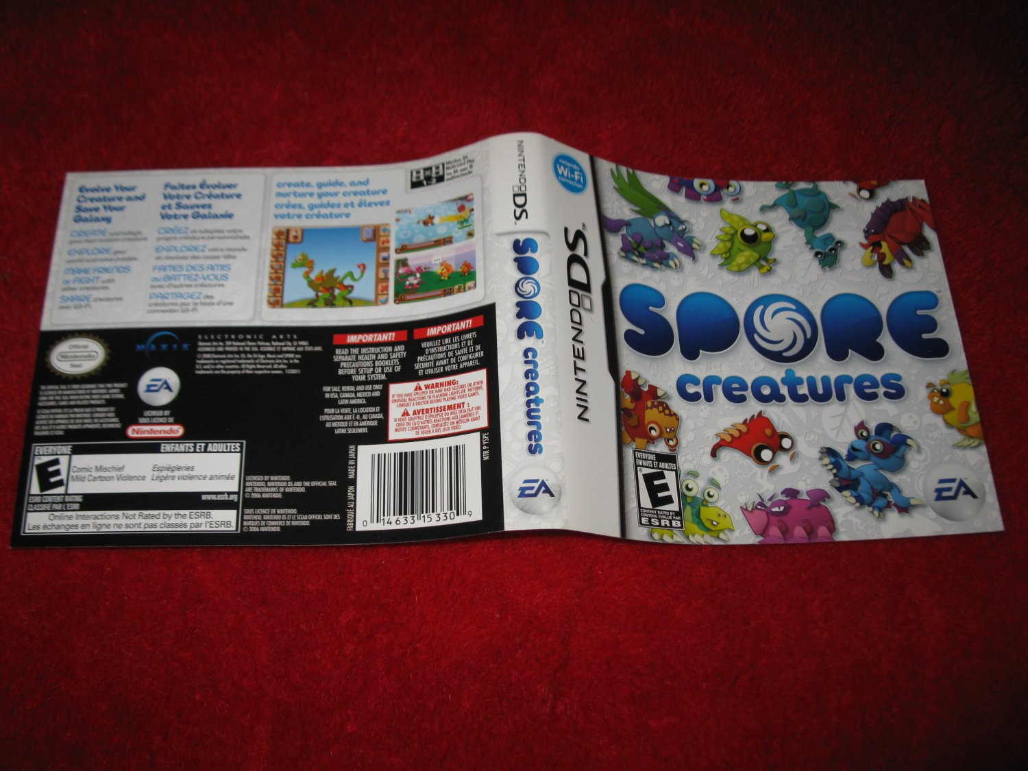 Spore Creatures : Nintendo DS Video Game Case Cover Art insert