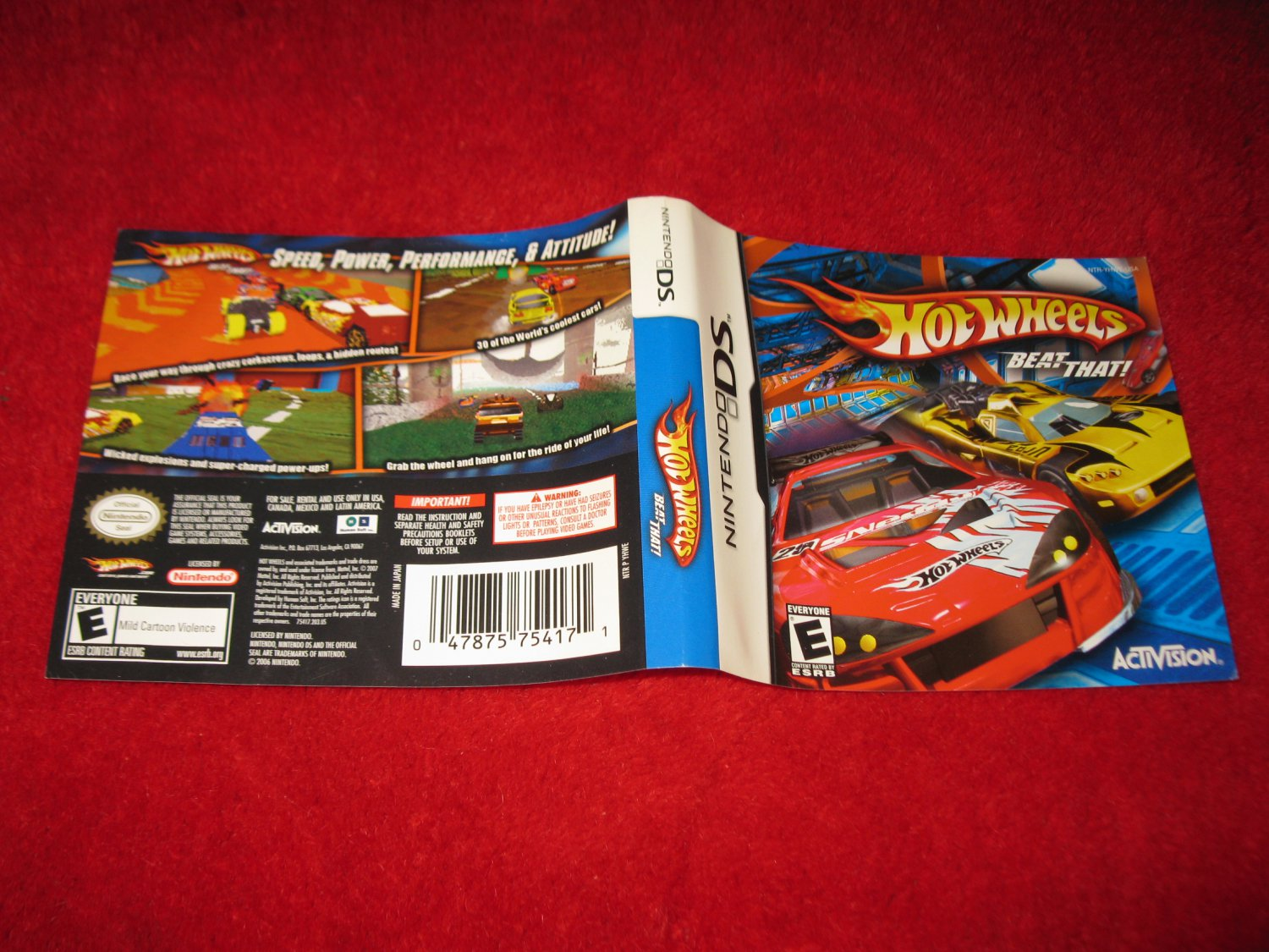 Hot Wheels Beat That : Nintendo DS Video Game Case Cover Art insert