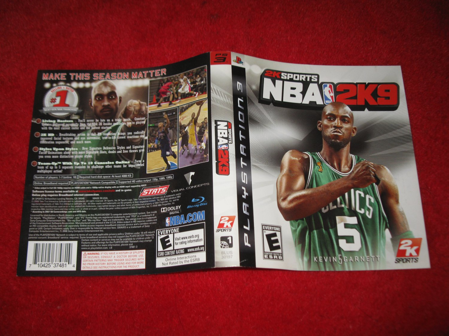 NBA 2K9 : Playstation 3 PS3 Video Game Case Cover Art insert