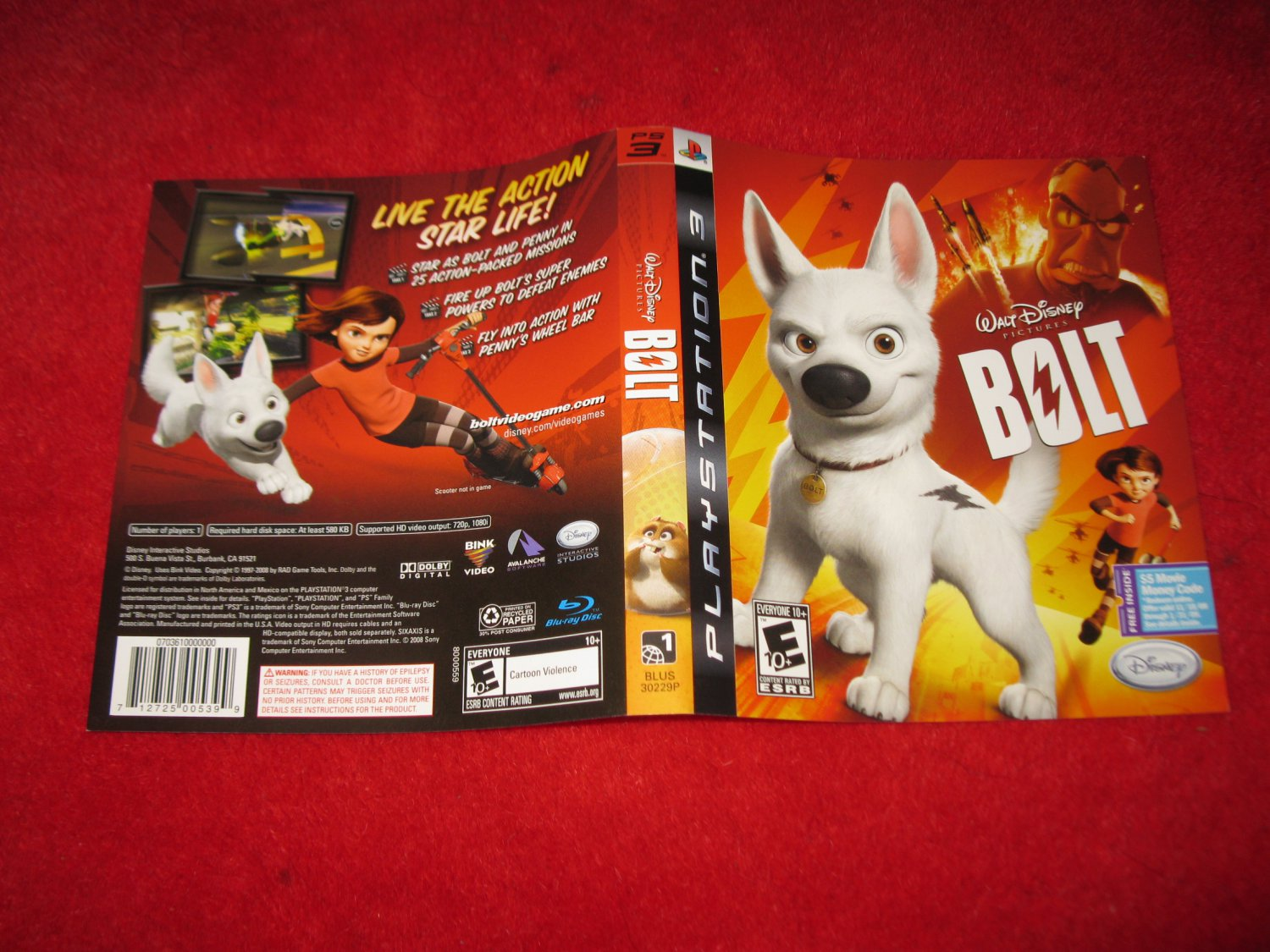Walt Disney's Bolt : Playstation 3 PS3 Video Game Case Cover Art insert