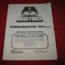 1989 Mega Force Action Figure: Strikemaster Instruction Booklet-  foldout insert