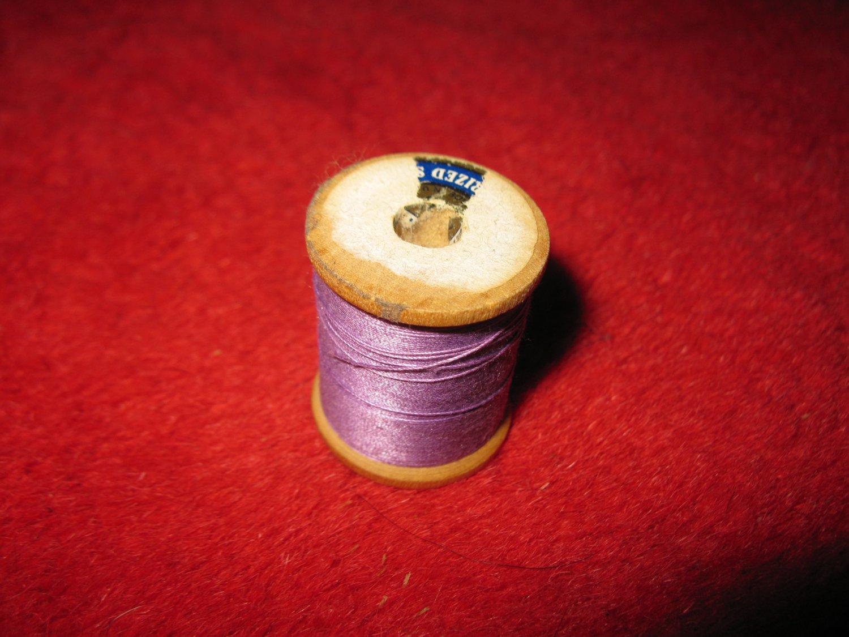 old wood Spool w/ Thread: no label, w/ original thread