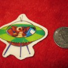 Vintage 1980's Cartoon Refrigerator Magnet: The Gremlins Movie- Gizmo Flying Spaceship