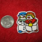 1970's Christmas Themed Refrigerator Magnet: Snowman Couple