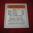 1952 Monopoly Popular Ed. Board Game Piece: New York Ave - Title Deed