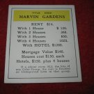 1952 Monopoly Popular Ed. Board Game Piece: Marvin Gardens - Title Deed