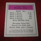 1952 Monopoly Popular Ed. Board Game Piece: States Ave - Title Deed