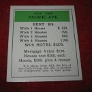 1952 Monopoly Popular Ed. Board Game Piece: Pacific Ave - Title Deed
