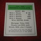 1952 Monopoly Popular Ed. Board Game Piece: Pennsylvania Ave - Title Deed