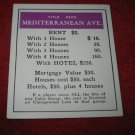 1952 Monopoly Popular Ed. Board Game Piece: Mediterranean Ave - Title Deed