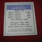 1952 Monopoly Popular Ed. Board Game Piece: Boardwalk - Title Deed