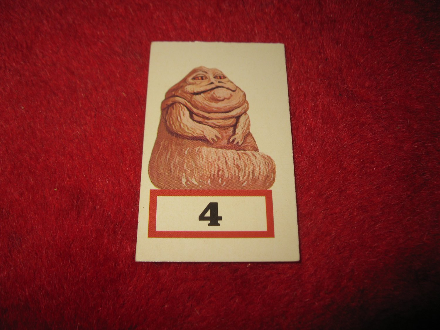 1983 Star Wars; Battle at Sarlacc's Pit Board Game Piece: #4 Jabba The Hutt Game Card