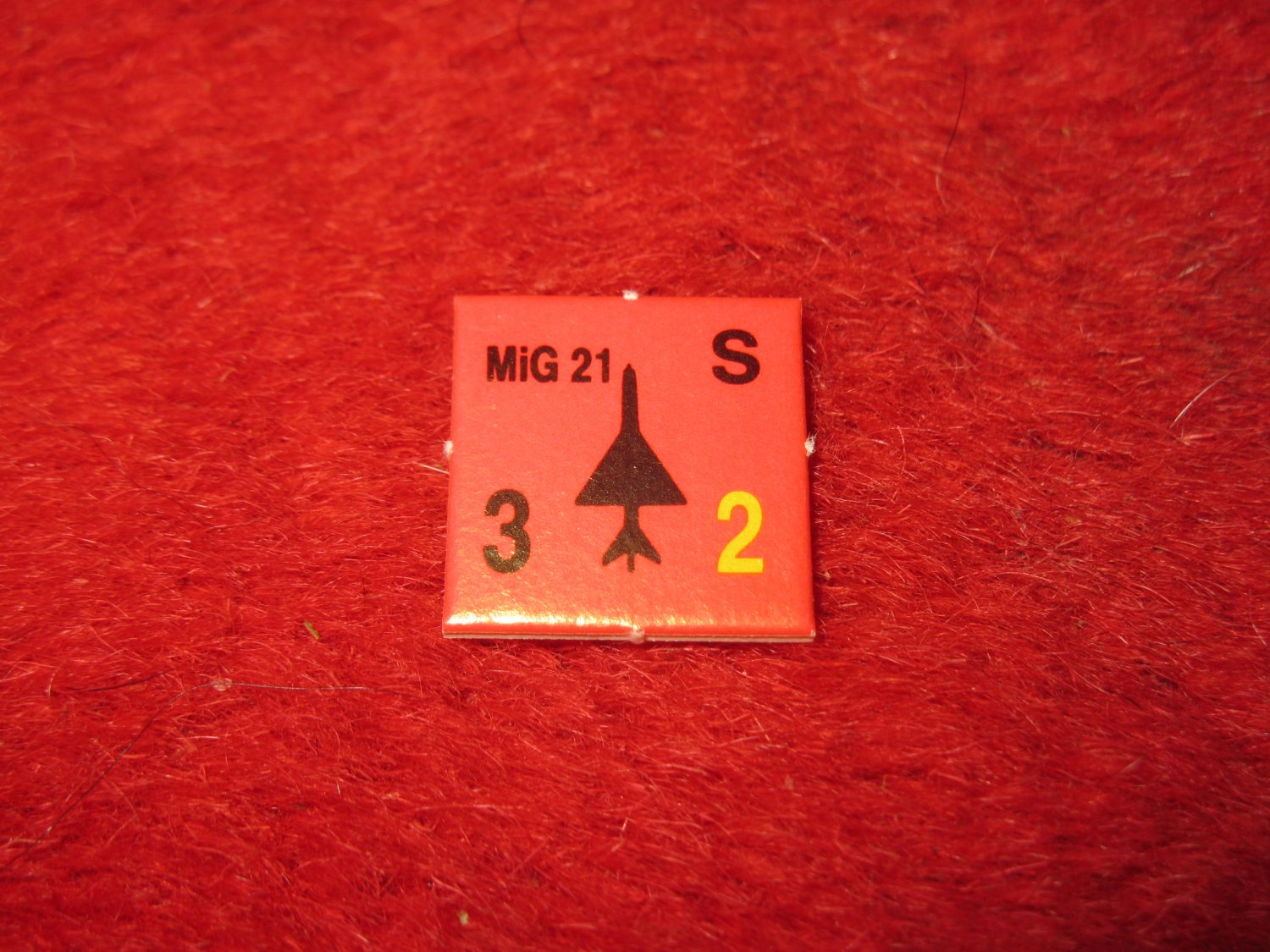 1988 The Hunt for Red October Board Game Piece: MIG 21 red Square Counter