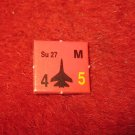 1988 The Hunt for Red October Board Game Piece: Su 27 red Square Counter