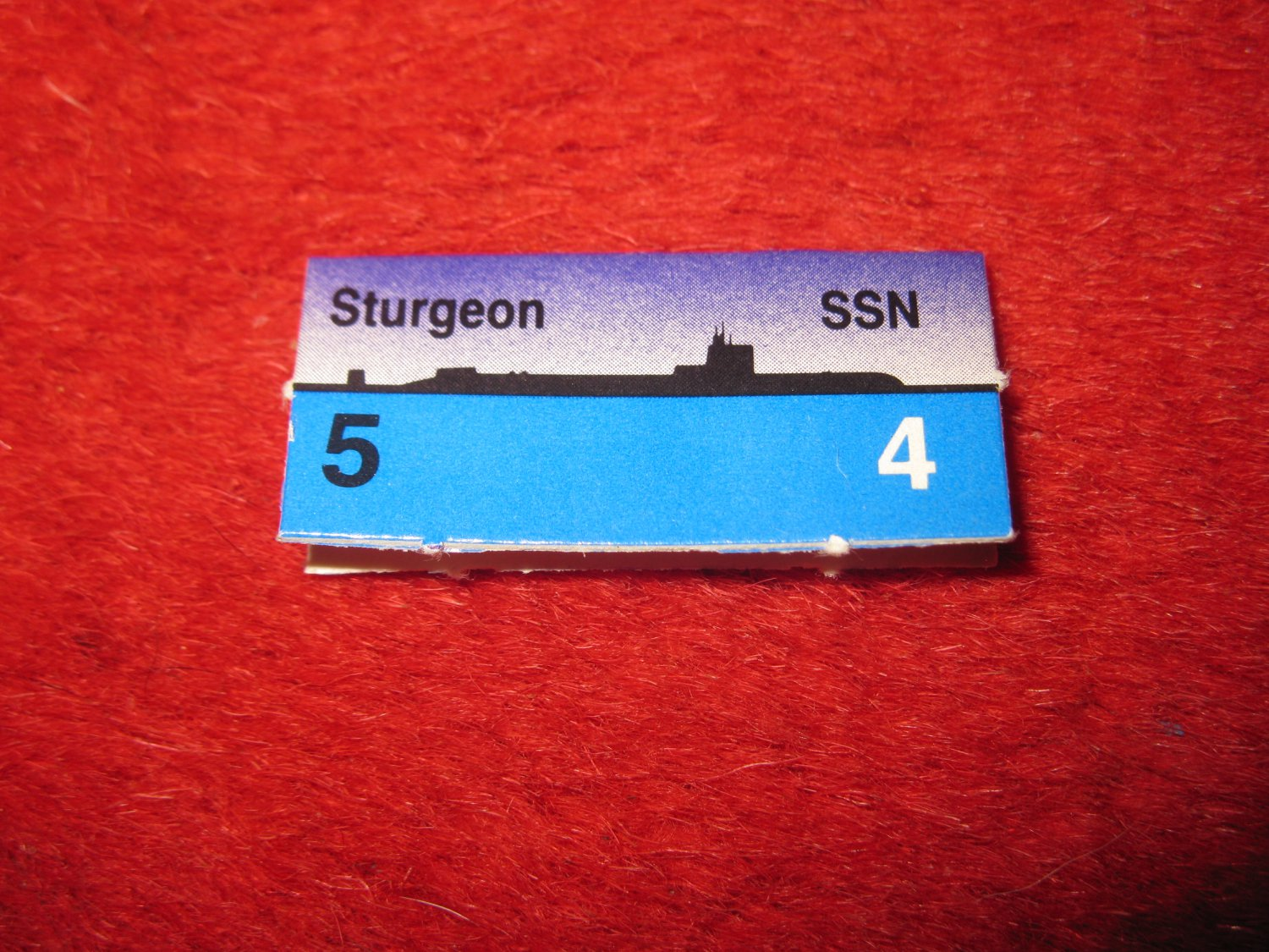 1988 The Hunt for Red October Board Game Piece: Sturgeon Blue Ship Tab- NATO