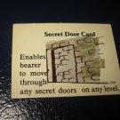 1980 TSR D&D: Dungeon Board Game Piece: Treasure 2nd Level Card- Secret Door