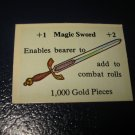 1980 TSR D&D: Dungeon Board Game Piece: Treasure 2nd Level Card- Magic Sword