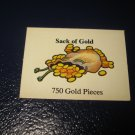 1980 TSR D&D: Dungeon Board Game Piece: Treasure 3rd Level Card- 750 Sack of Gold