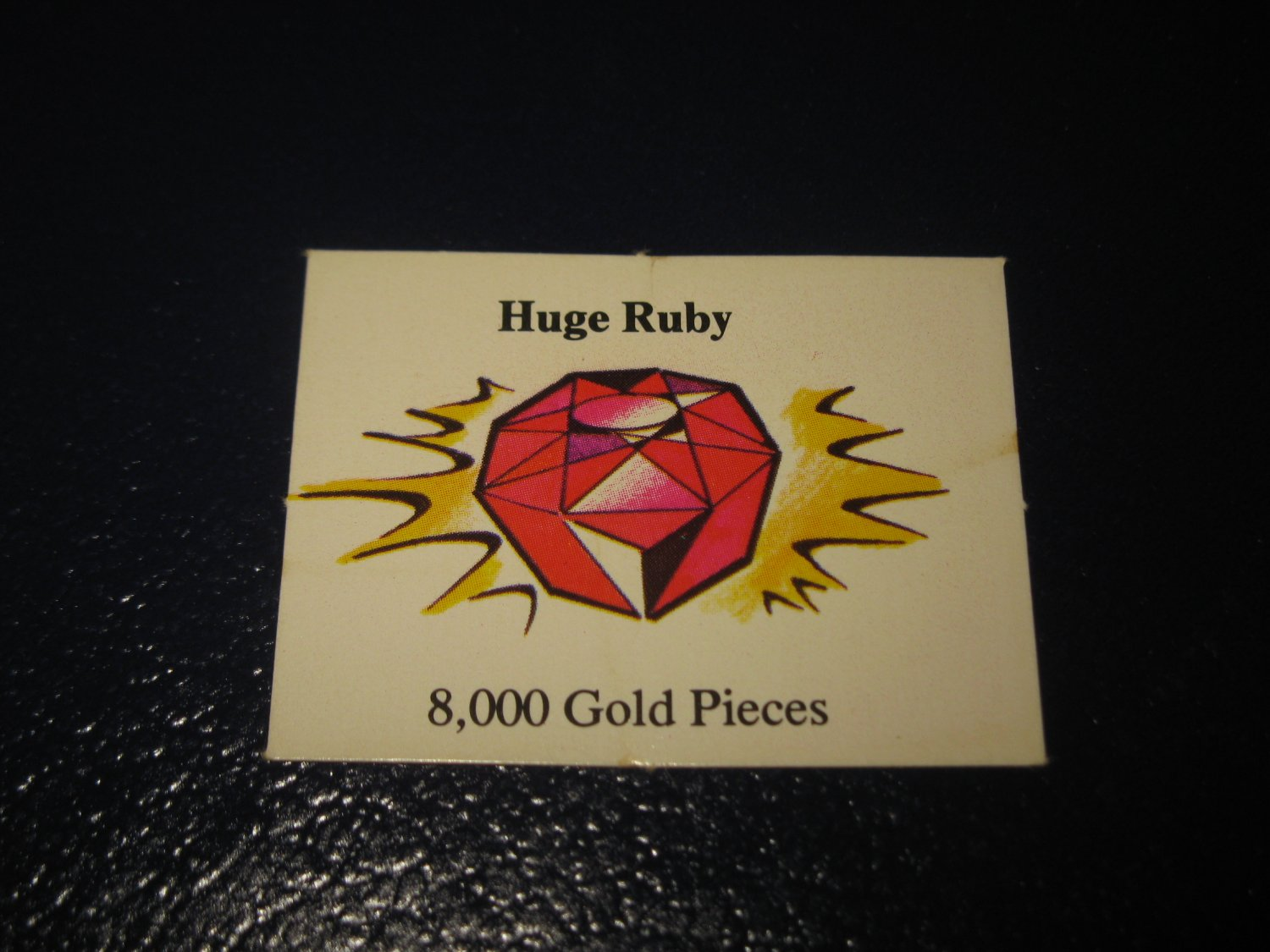 1980 TSR D&D: Dungeon Board Game Piece: Treasure 6th Level Card- Huge Ruby