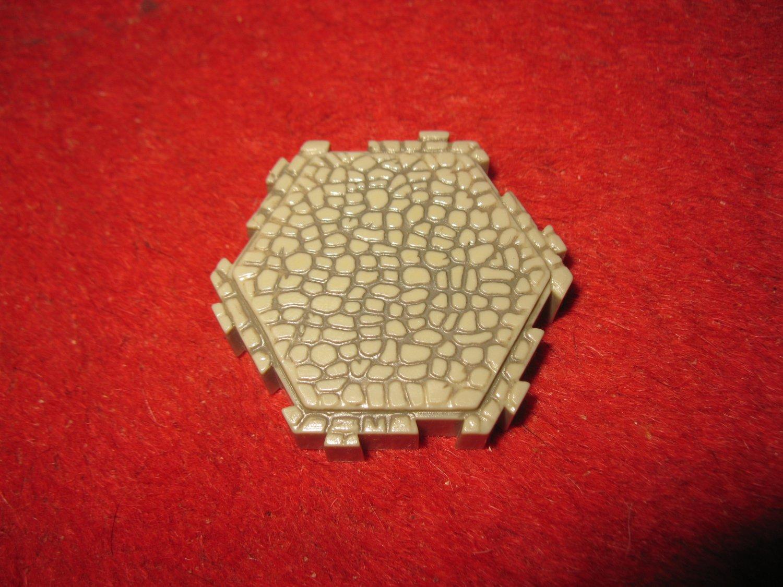 2004 - Heroscape Board Game Piece: Gray Granite Castle Land 1-way hex tile