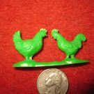 Vintage Marx..? Miniature Playset figure: Green Plastic Pair of Chickens