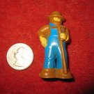 Vintage Playset figure: Rare Painted Brown Plastic Farmer , stamped Japan