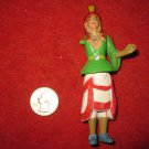 """Vintage Playset figure: Rare Painted Indian Woman, 4"""" tall, moveable joints, missing arm"""