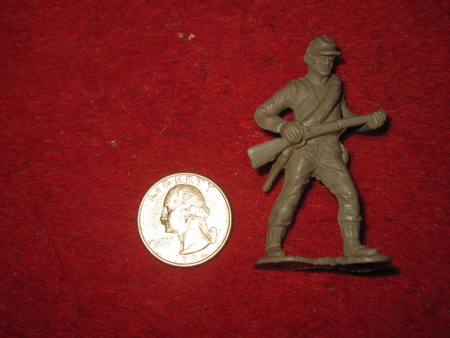 Vintage Marx Miniature Playset figure: Rare Gray Civil War Standing Soldier