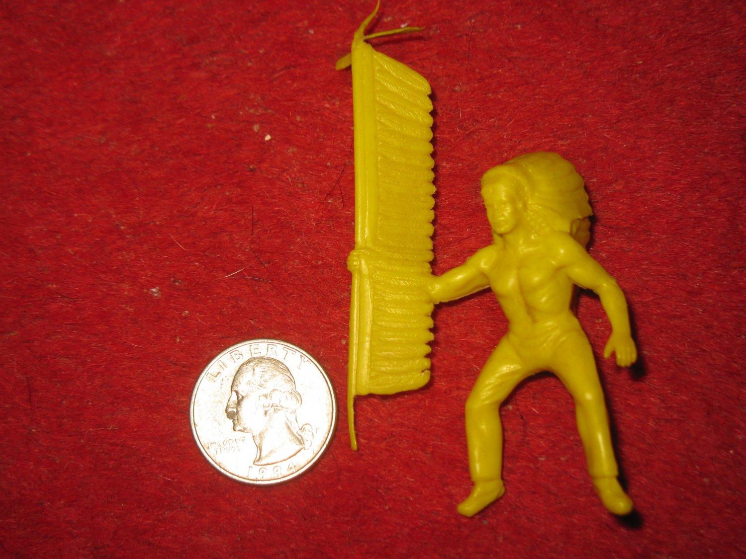 Vintage 1950's Marx Miniature Playset figure: Yellow Indian Horseback Rider w/ Feathered Staff