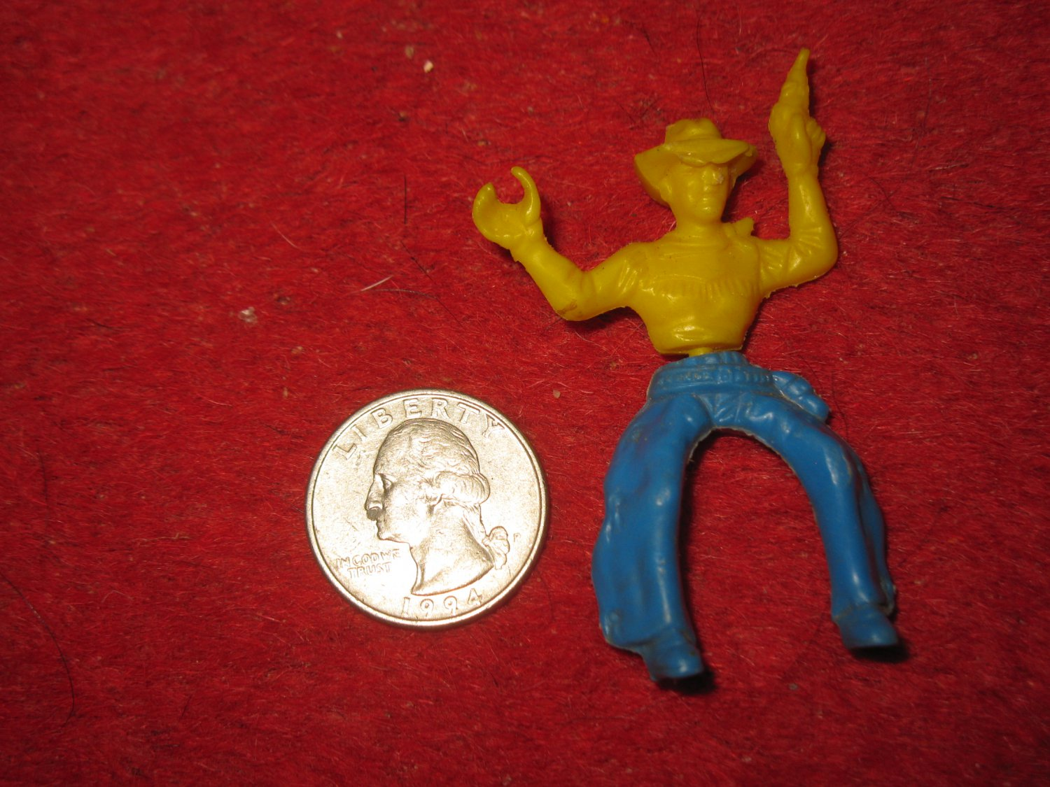 Vintage 1950's Miniature Playset figure: Yellow & Blue 'Swivel Hip' Cowboy w/ Pistol
