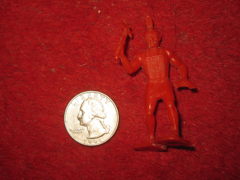 Vintage 1950's Miniature Playset figure: Rare Red Indian w/ Tomahawk & Scalp