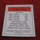 2004 Monopoly Board Game Piece: Illinois Title Deed