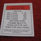 2004 Monopoly Board Game Piece: Indiana Title Deed