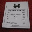 2004 Monopoly Board Game Piece: Pennsylvania Railroad Title Deed