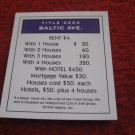 2004 Monopoly Board Game Piece: Baltic Ave Title Deed