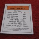 2004 Monopoly Board Game Piece: New York Ave Title Deed