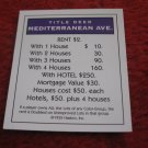 2004 Monopoly Board Game Piece: Mediterranean Ave Title Deed