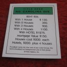 2004 Monopoly Board Game Piece: North Carolina Ave Title Deed