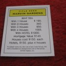 2004 Monopoly Board Game Piece: Marvin Gardens Title Deed
